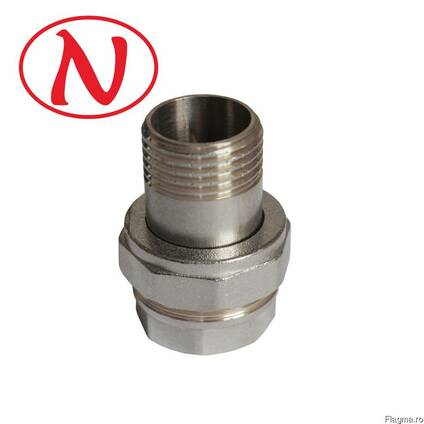 "Brass Straight connector 1/2"" (Nikel) /HS"