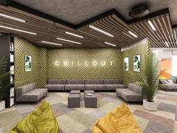 Design for office, bank, restaurant, bar, beauty salon